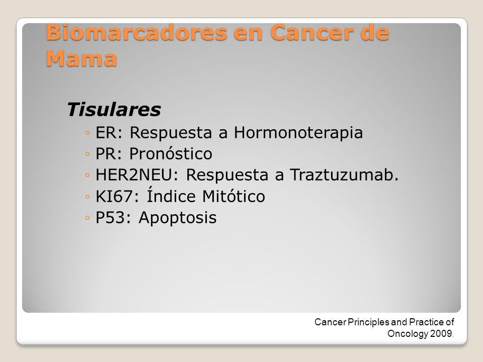Biomarcadores en Cancer de Mama Tisulares ER: Respuesta a Hormonoterapia PR: Pronóstico HER2NEU: Respuesta a Traztuzumab. KI67: Índice Mitótico P53: A