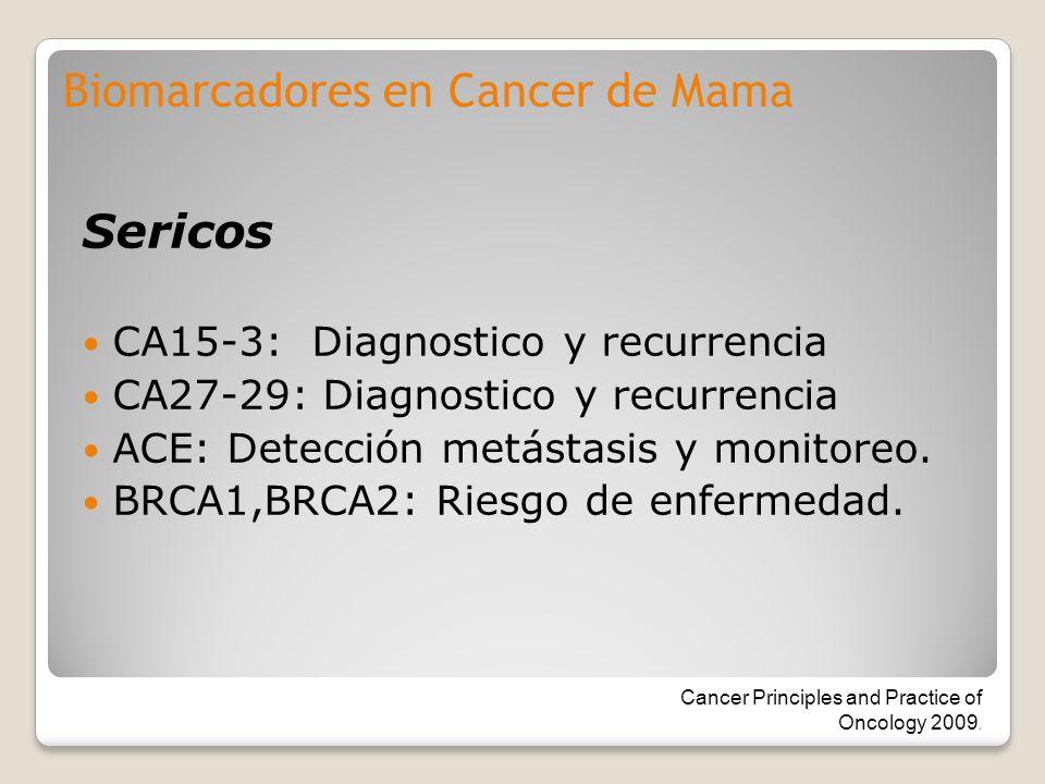 Sericos CA15-3: Diagnostico y recurrencia CA27-29: Diagnostico y recurrencia ACE: Detección metástasis y monitoreo. BRCA1,BRCA2: Riesgo de enfermedad.