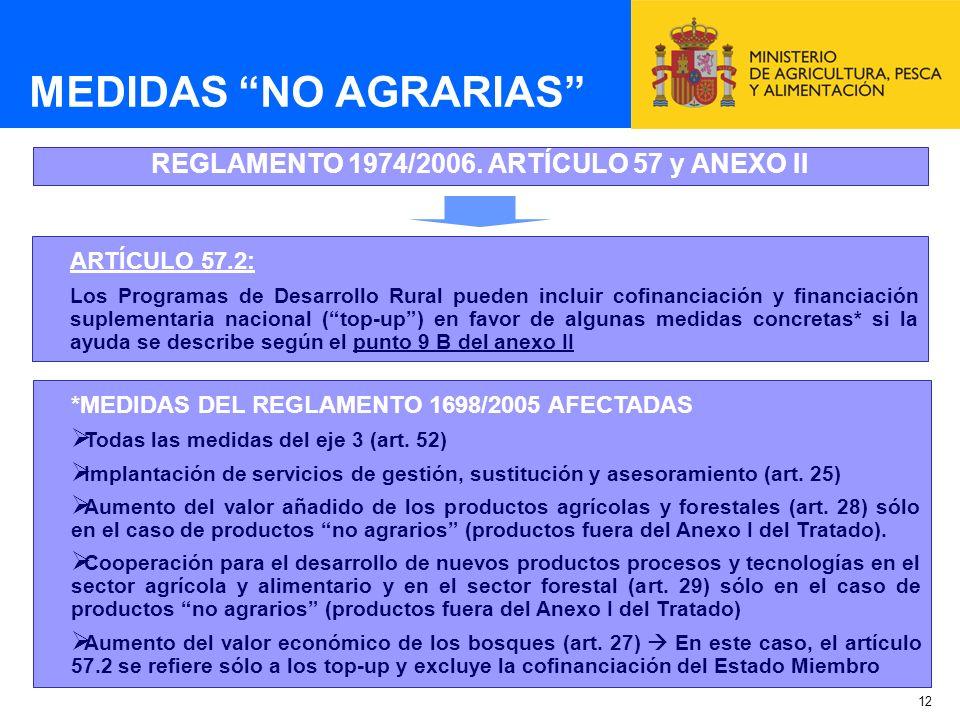 12 MEDIDAS NO AGRARIAS REGLAMENTO 1974/2006. ARTÍCULO 57 y ANEXO II ARTÍCULO 57.2: Los Programas de Desarrollo Rural pueden incluir cofinanciación y f