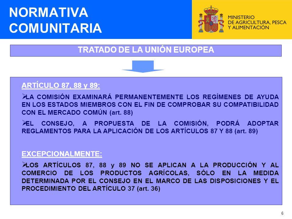 7 LEGISLACIÓN COMUNITARIA SOBRE AYUDAS DE ESTADO NORMATIVA COMUNITARIA REGLAMENTO 659/1999 DEL CONSEJO por el que se establecen disposiciones de aplicación del artículo 93 (ahora 88) del Tratado REGLAMENTO 794/2004 DE LA COMISIÓN por el que se establecen disposiciones de aplicación del Reglamento 659/1999 (modificado por el Reglamento 1627/2006 y el Reglamento 1935/2006) REGLAMENTO 994/1998 DEL CONSEJO sobre la aplicación de los artículos 92 y 93 (ahora 87 y 88) del Tratado a determinadas categorías de ayudas de estado horizontales REGLAMENTOS DE EXENCIÓN DE LA COMISIÓN de aplicación del Reglamento 994/1998 (minimis, pymes, empleo, mapa de ayudas regionales)
