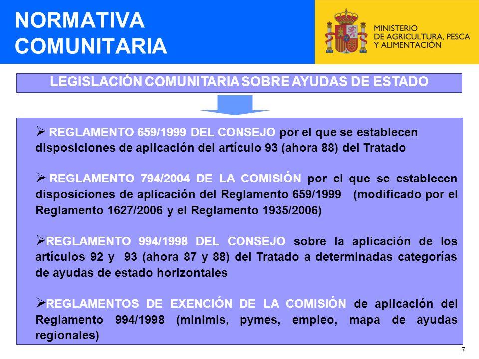 7 LEGISLACIÓN COMUNITARIA SOBRE AYUDAS DE ESTADO NORMATIVA COMUNITARIA REGLAMENTO 659/1999 DEL CONSEJO por el que se establecen disposiciones de aplic