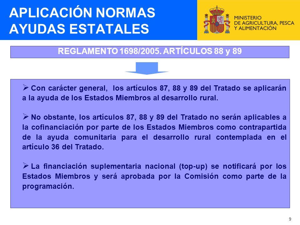 9 REGLAMENTO 1698/2005. ARTÍCULOS 88 y 89 APLICACIÓN NORMAS AYUDAS ESTATALES Con carácter general, los artículos 87, 88 y 89 del Tratado se aplicarán