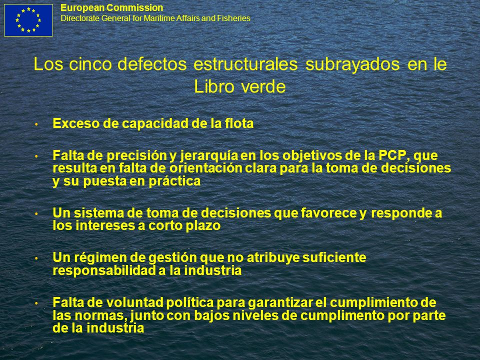 European Commission Directorate General for Maritime Affairs and Fisheries Los cinco defectos estructurales subrayados en le Libro verde Exceso de cap