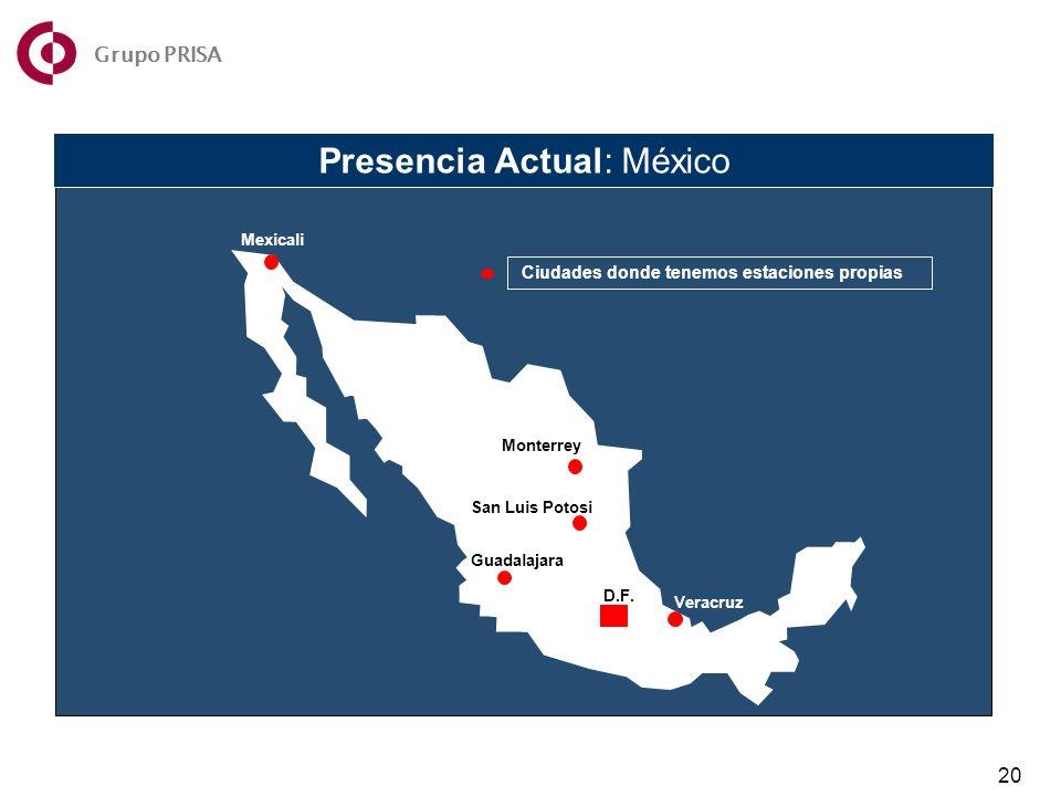 Presencia Actual: México Mexicali Monterrey San Luis Potosi Guadalajara Veracruz D.F.