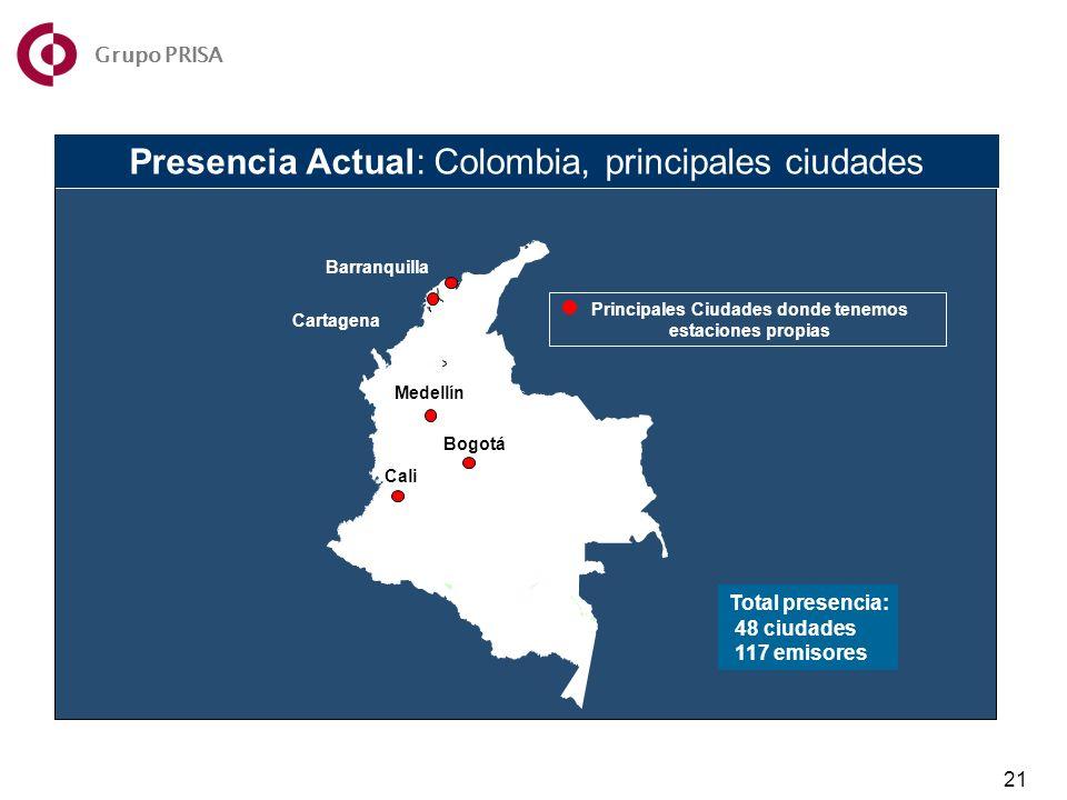 Presencia Actual: Colombia, principales ciudades Principales Ciudades donde tenemos estaciones propias Total presencia: 48 ciudades 117 emisores 21 Grupo PRISA Cartagena Medellín Barranquilla Bogotá Medellín Cali