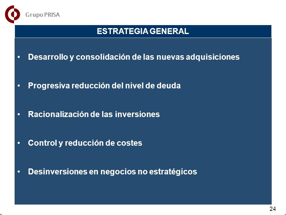 31 32 24 Desarrollo y consolidación de las nuevas adquisiciones Progresiva reducción del nivel de deuda Racionalización de las inversiones Control y reducción de costes Desinversiones en negocios no estratégicos ESTRATEGIA GENERAL Grupo PRISA