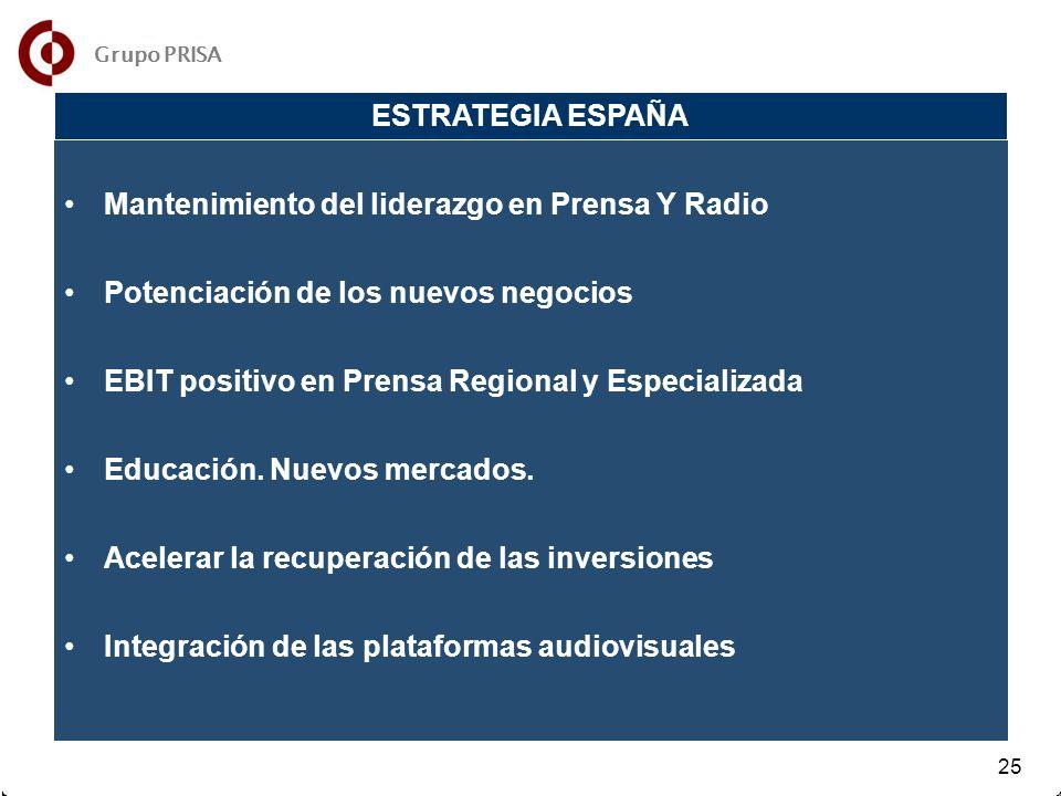 31 32 25 Mantenimiento del liderazgo en Prensa Y Radio Potenciación de los nuevos negocios EBIT positivo en Prensa Regional y Especializada Educación.
