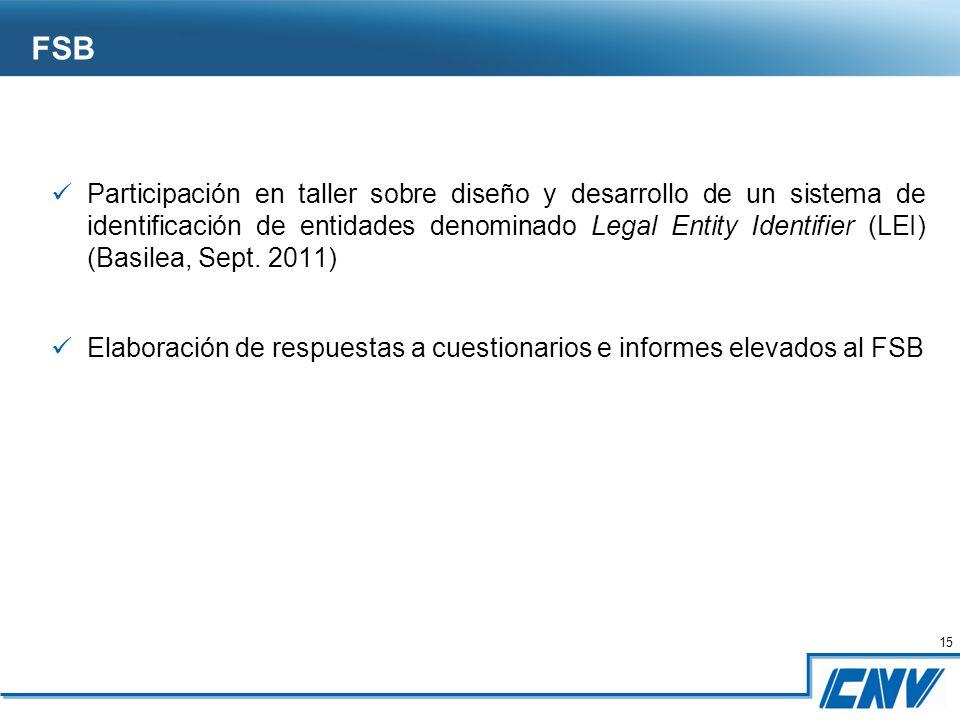 15 Participación en taller sobre diseño y desarrollo de un sistema de identificación de entidades denominado Legal Entity Identifier (LEI) (Basilea, Sept.