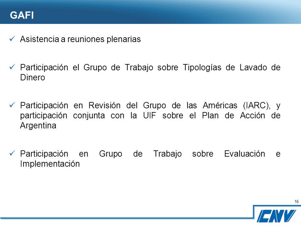 16 Asistencia a reuniones plenarias Participación el Grupo de Trabajo sobre Tipologías de Lavado de Dinero Participación en Revisión del Grupo de las Américas (IARC), y participación conjunta con la UIF sobre el Plan de Acción de Argentina Participación en Grupo de Trabajo sobre Evaluación e Implementación GAFI