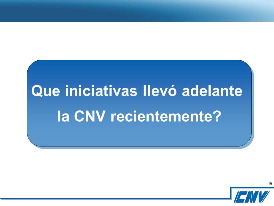 19 Que iniciativas llevó adelante la CNV recientemente.