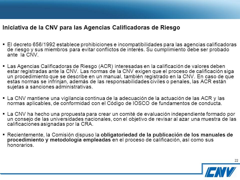22 Iniciativa de la CNV para las Agencias Calificadoras de Riesgo El decreto 656/1992 establece prohibiciones e incompatibilidades para las agencias calificadoras de riesgo y sus miembros para evitar conflictos de interés.
