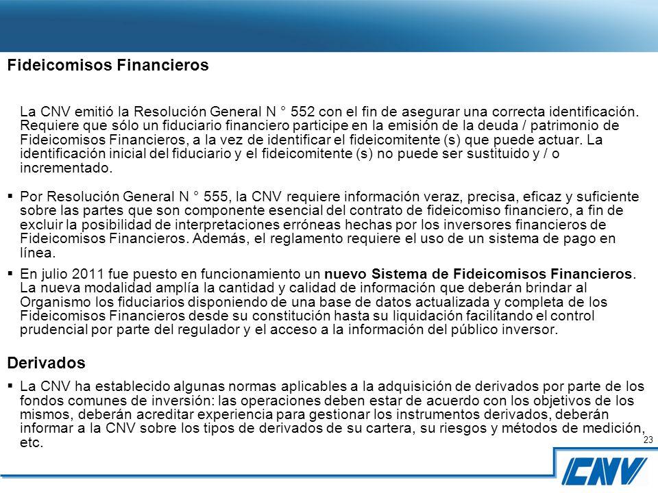23 Fideicomisos Financieros La CNV emitió la Resolución General N ° 552 con el fin de asegurar una correcta identificación.