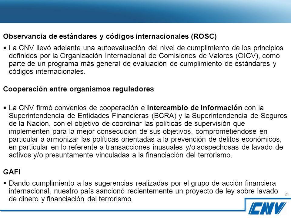 24 Observancia de estándares y códigos internacionales (ROSC) La CNV llevó adelante una autoevaluación del nivel de cumplimiento de los principios definidos por la Organización Internacional de Comisiones de Valores (OICV), como parte de un programa más general de evaluación de cumplimiento de estándares y códigos internacionales.