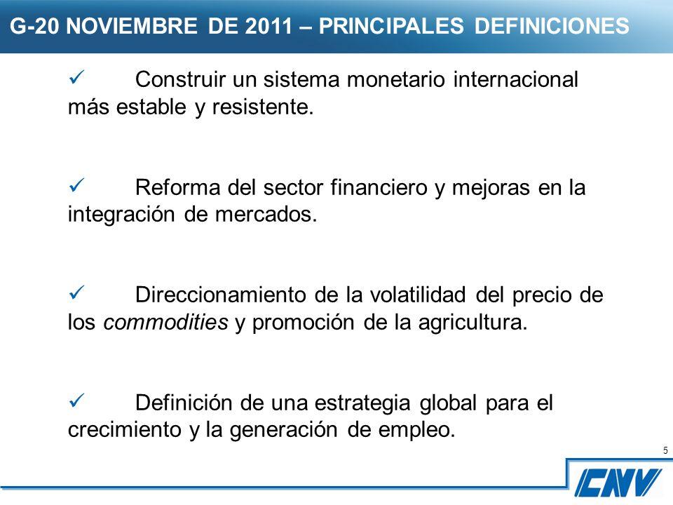 5 5 G-20 NOVIEMBRE DE 2011 – PRINCIPALES DEFINICIONES Construir un sistema monetario internacional más estable y resistente.