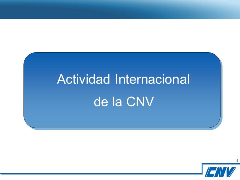 9 9 Actividad Internacional de la CNV Actividad Internacional de la CNV