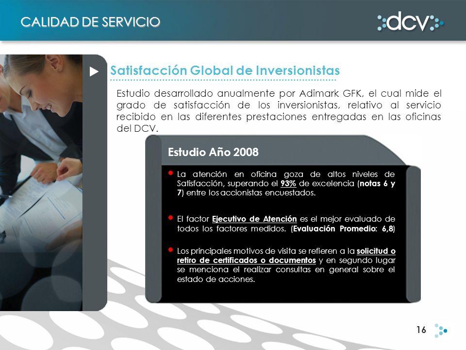 16 Estudio desarrollado anualmente por Adimark GFK, el cual mide el grado de satisfacción de los inversionistas, relativo al servicio recibido en las