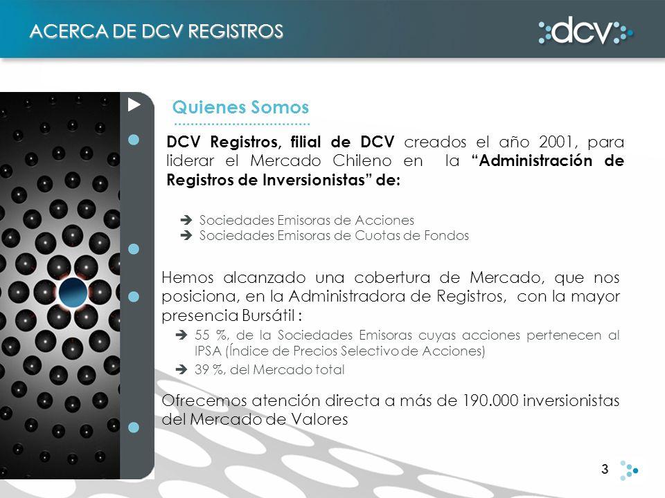 3 ACERCA DE DCV REGISTROS Quienes Somos DCV Registros, filial de DCV creados el año 2001, para liderar el Mercado Chileno en la Administración de Regi