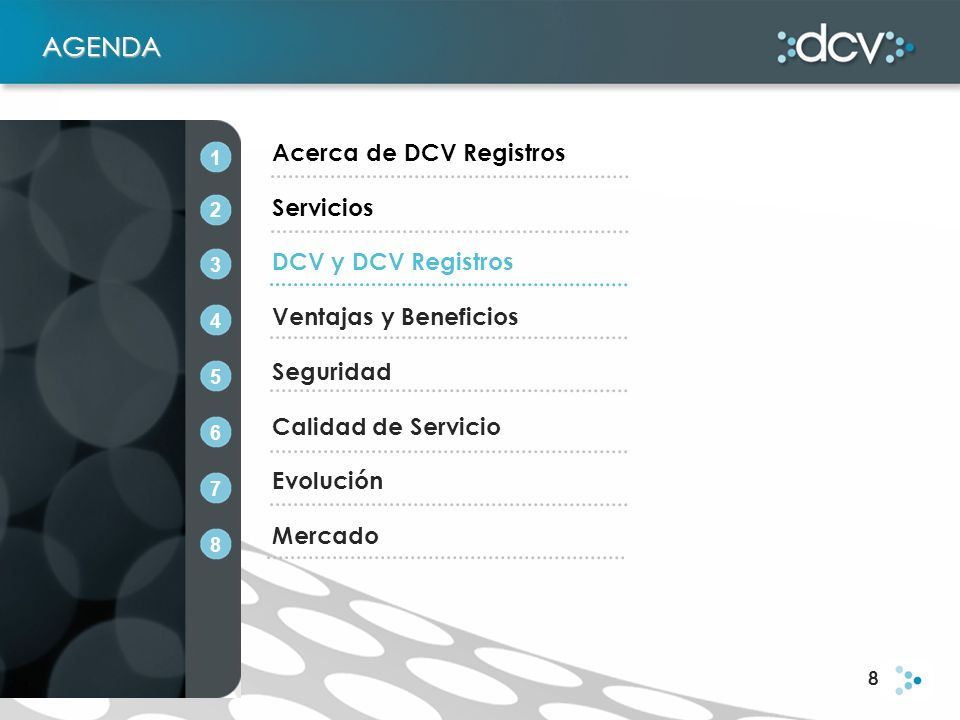8 AGENDA Acerca de DCV Registros Servicios DCV y DCV Registros Ventajas y Beneficios Seguridad Calidad de Servicio Evolución Mercado 1 2 3 4 5 6 7 8