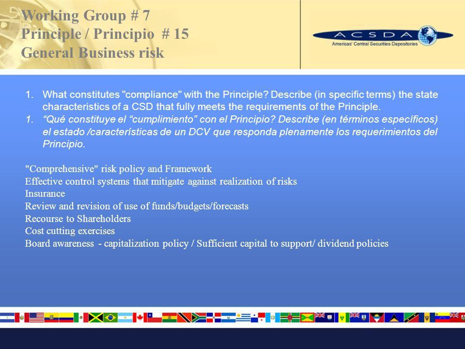 Working Group # 7 Principle / Principio # 15 General Business risk 1.What constitutes compliance with the Principle.
