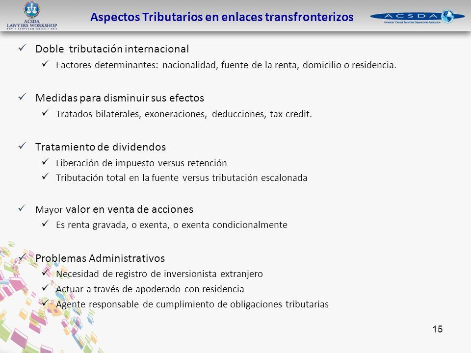 15 Aspectos Tributarios en enlaces transfronterizos Doble tributación internacional Factores determinantes: nacionalidad, fuente de la renta, domicilio o residencia.
