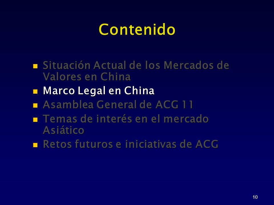 10 Contenido Situación Actual de los Mercados de Valores en China Situación Actual de los Mercados de Valores en China Marco Legal en China Marco Legal en China Asamblea General de ACG 11 Asamblea General de ACG 11 Temas de interés en el mercado Asiático Temas de interés en el mercado Asiático Retos futuros e iniciativas de ACG Retos futuros e iniciativas de ACG