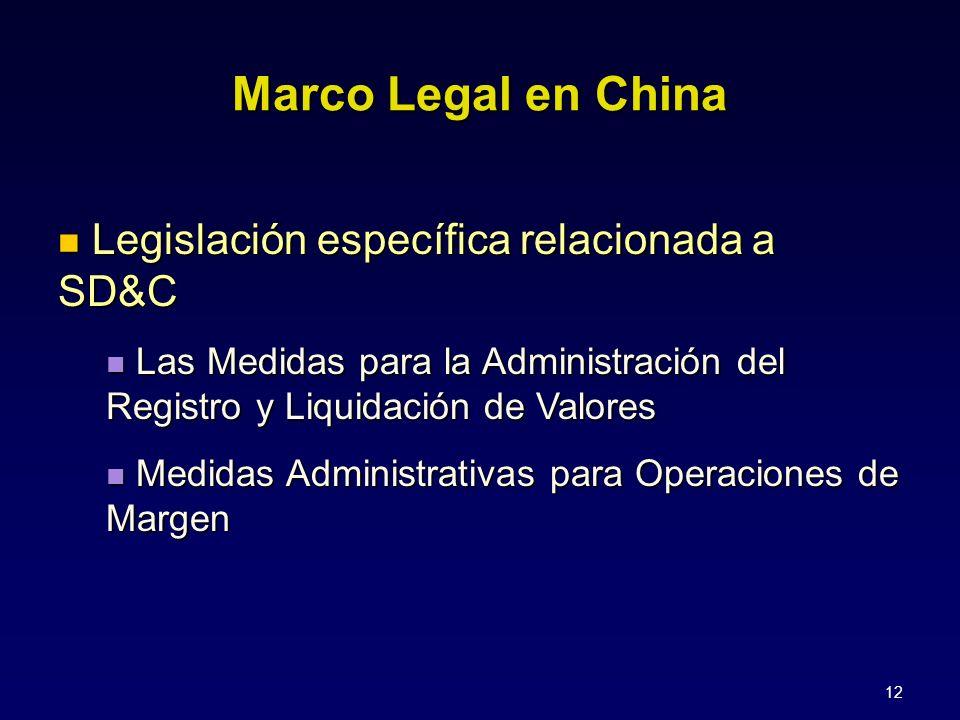 12 Legislación específica relacionada a SD&C Legislación específica relacionada a SD&C Las Medidas para la Administración del Registro y Liquidación de Valores Las Medidas para la Administración del Registro y Liquidación de Valores Medidas Administrativas para Operaciones de Margen Medidas Administrativas para Operaciones de Margen Marco Legal en China