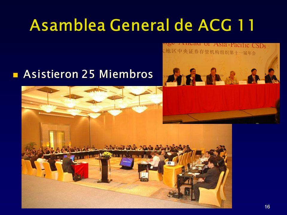 16 Asamblea General de ACG 11 Asistieron 25 Miembros Asistieron 25 Miembros