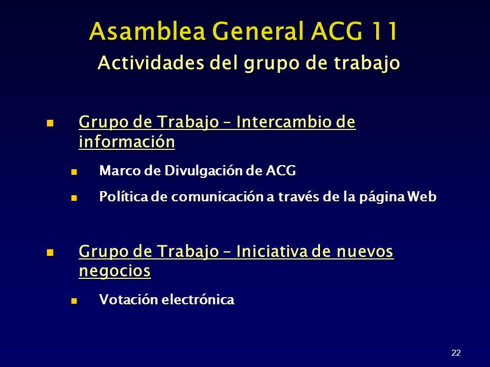 22 Asamblea General ACG 11 Actividades del grupo de trabajo Grupo de Trabajo – Intercambio de información Marco de Divulgación de ACG Política de comunicación a través de la página Web Grupo de Trabajo – Iniciativa de nuevos negocios Votación electrónica