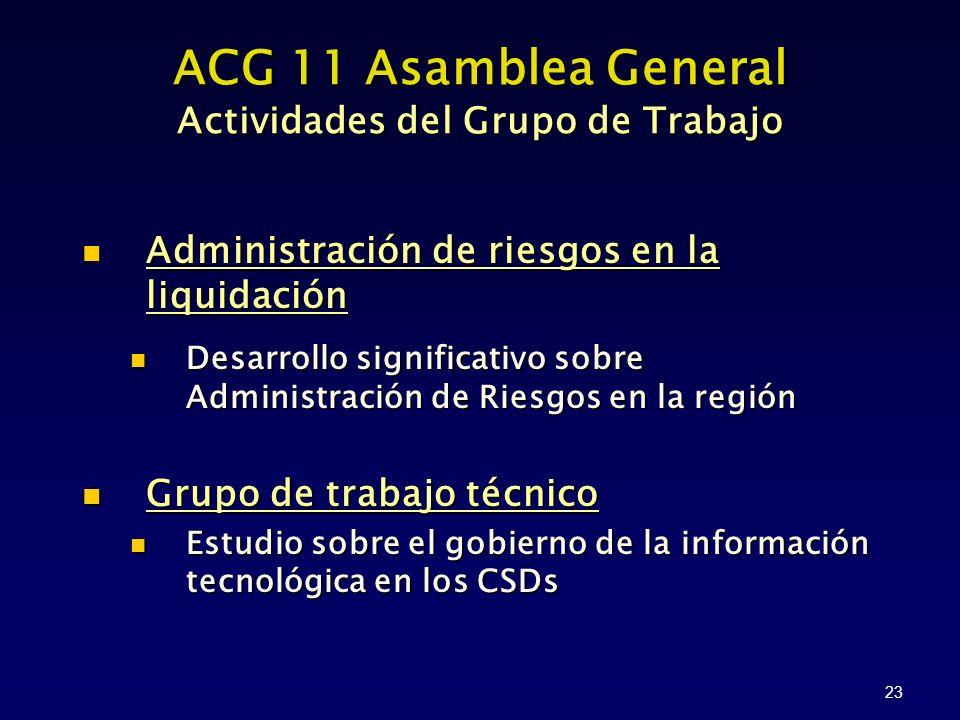 23 ACG 11 Asamblea General Actividades del Grupo de Trabajo Administración de riesgos en la liquidación Desarrollo significativo sobre Administración de Riesgos en la región Grupo de trabajo técnico Estudio sobre el gobierno de la información tecnológica en los CSDs
