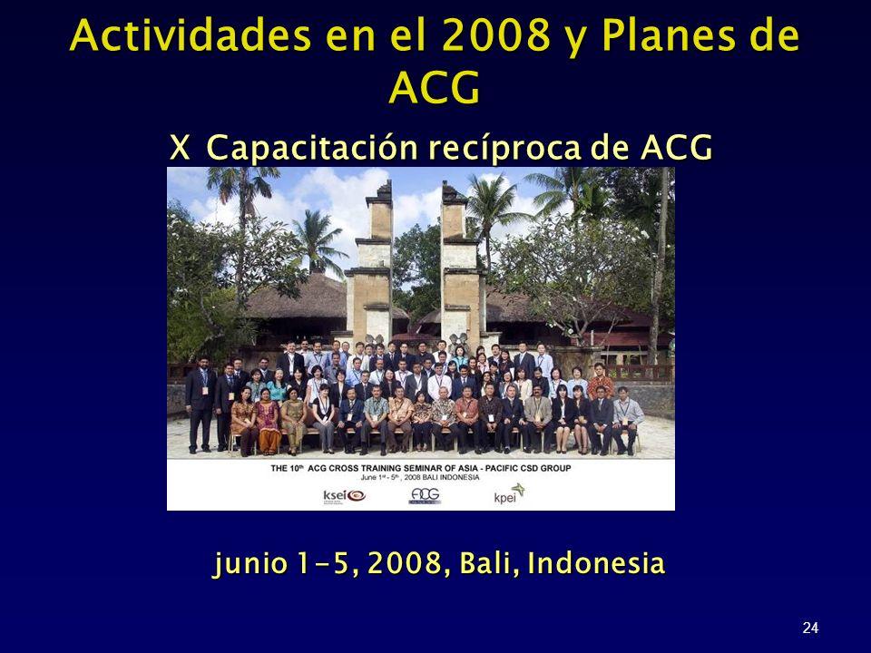 24 junio 1-5, 2008, Bali, Indonesia junio 1-5, 2008, Bali, Indonesia Actividades en el 2008 y Planes de ACG X Capacitación recíproca de ACG