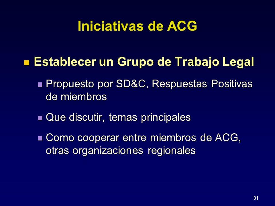 31 Establecer un Grupo de Trabajo Legal Establecer un Grupo de Trabajo Legal Propuesto por SD&C, Respuestas Positivas de miembros Propuesto por SD&C, Respuestas Positivas de miembros Que discutir, temas principales Que discutir, temas principales Como cooperar entre miembros de ACG, otras organizaciones regionales Como cooperar entre miembros de ACG, otras organizaciones regionales Iniciativas de ACG