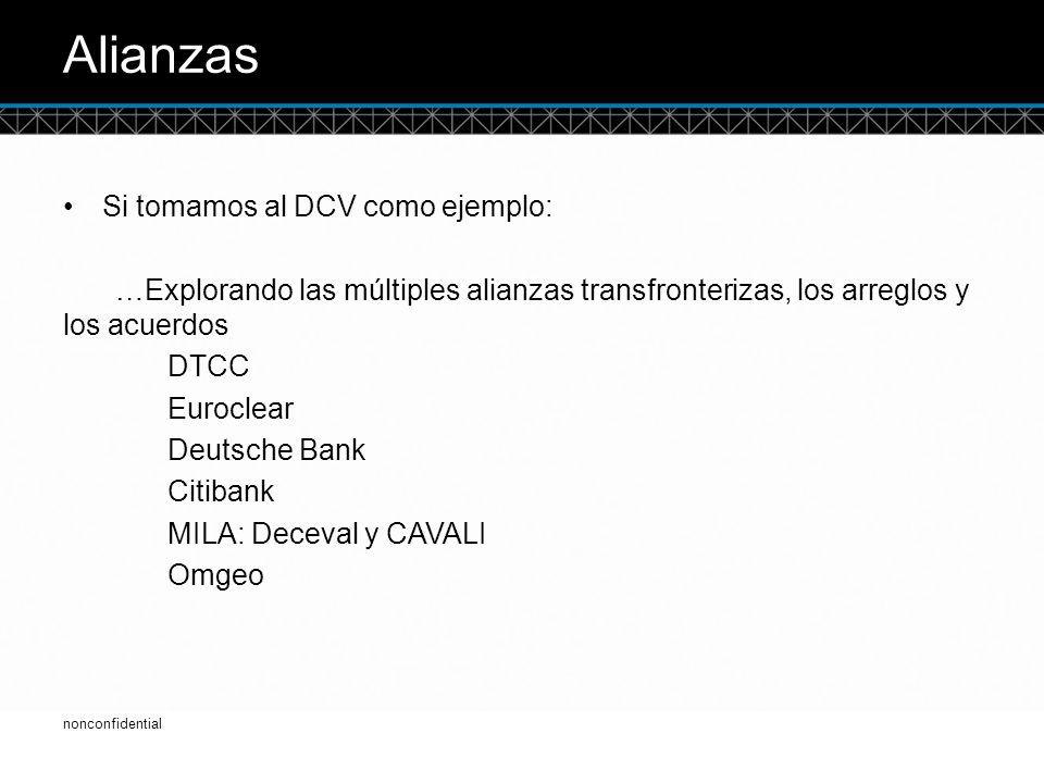 © DTCC Alianzas Si tomamos al DCV como ejemplo: …Explorando las múltiples alianzas transfronterizas, los arreglos y los acuerdos DTCC Euroclear Deutsche Bank Citibank MILA: Deceval y CAVALI Omgeo 4 nonconfidential