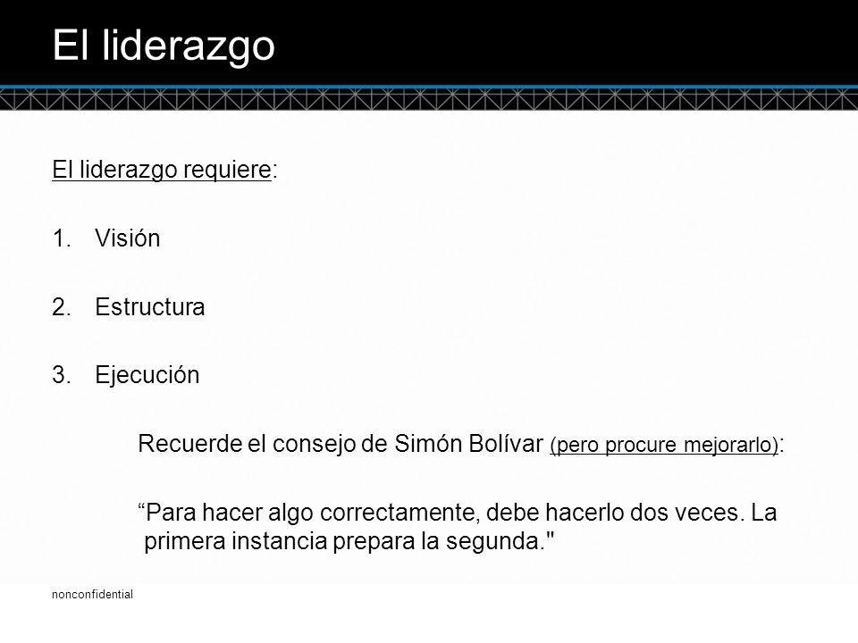 © DTCC El liderazgo El liderazgo requiere: 1.Visión 2.Estructura 3.Ejecución Recuerde el consejo de Simón Bolívar (pero procure mejorarlo) : Para hacer algo correctamente, debe hacerlo dos veces.