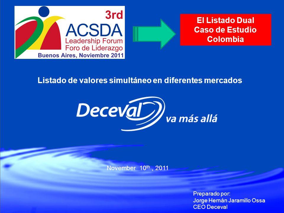 November 10 th, 2011 Preparado por: Jorge Hernán Jaramillo Ossa CEO Deceval El Listado Dual Caso de Estudio Colombia Listado de valores simultáneo en