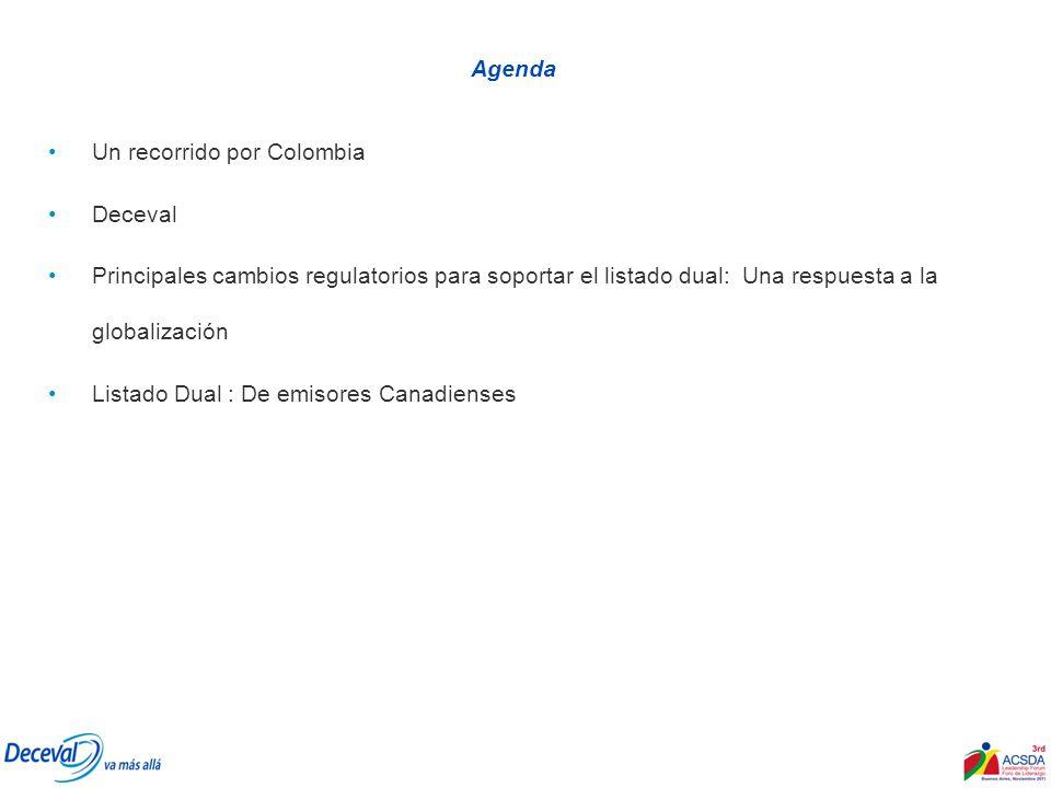 Agenda Un recorrido por Colombia Deceval Principales cambios regulatorios para soportar el listado dual: Una respuesta a la globalización Listado Dual