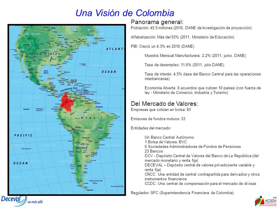 Panorama general: Población: 45,5 millones (2010, DANE de Investigación de proyección) Alfabetización: Más del 93% (2011, Ministerio de Educación) PIB