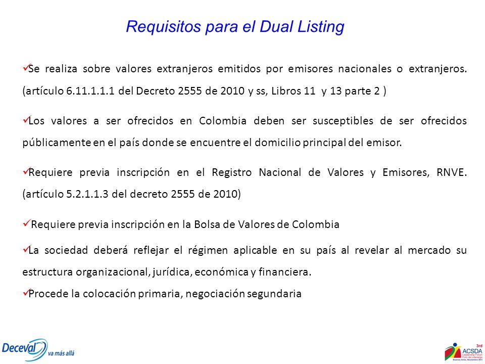 Requisitos para el Dual Listing Se realiza sobre valores extranjeros emitidos por emisores nacionales o extranjeros. (artículo 6.11.1.1.1 del Decreto