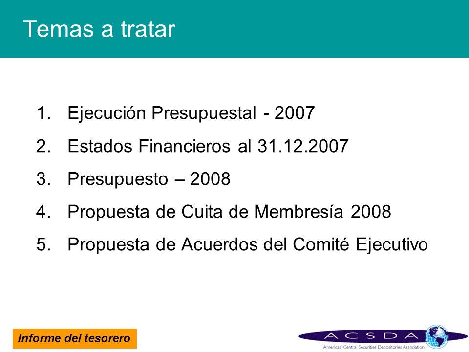 Informe del tesorero Temas a tratar 1.Ejecución Presupuestal - 2007 2.Estados Financieros al 31.12.2007 3.Presupuesto – 2008 4.Propuesta de Cuita de M