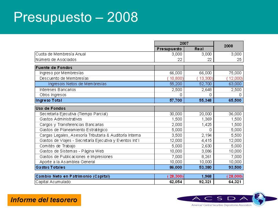 Informe del tesorero Presupuesto – 2008