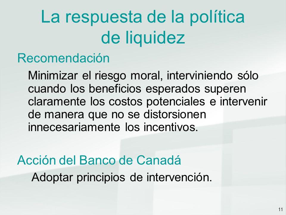 11 La respuesta de la política de liquidez Recomendación Minimizar el riesgo moral, interviniendo sólo cuando los beneficios esperados superen claramente los costos potenciales e intervenir de manera que no se distorsionen innecesariamente los incentivos.