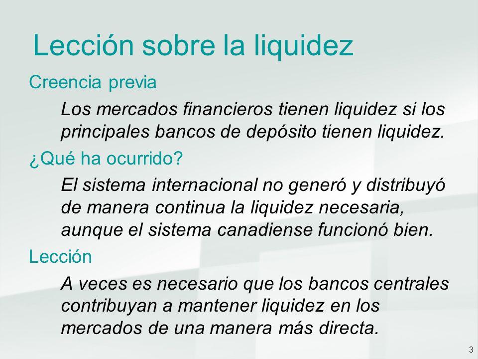 3 Lección sobre la liquidez Creencia previa Los mercados financieros tienen liquidez si los principales bancos de depósito tienen liquidez.