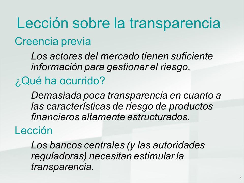 4 Lección sobre la transparencia Creencia previa Los actores del mercado tienen suficiente información para gestionar el riesgo.