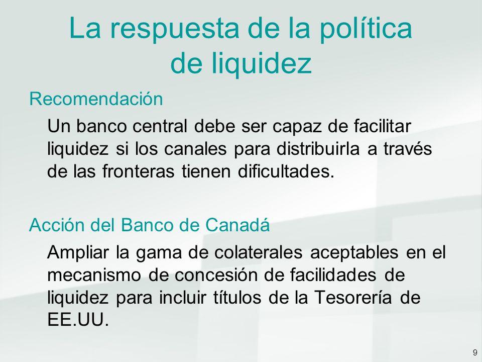 9 La respuesta de la política de liquidez Recomendación Un banco central debe ser capaz de facilitar liquidez si los canales para distribuirla a través de las fronteras tienen dificultades.