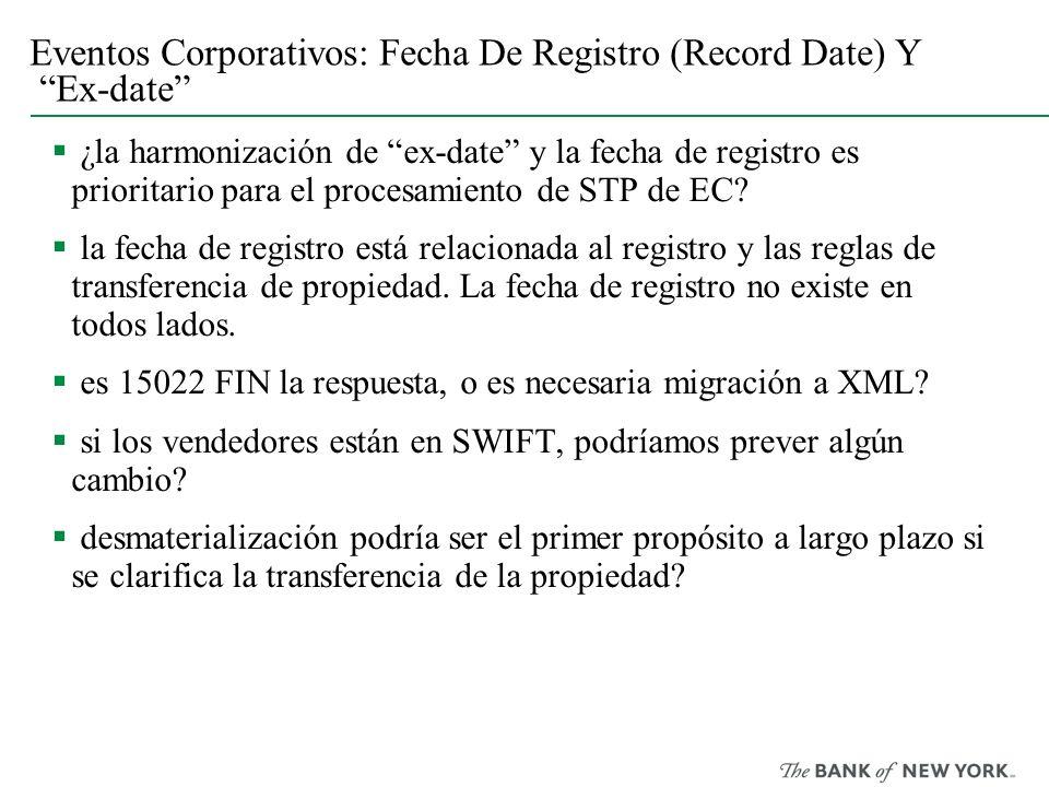 Eventos Corporativos: Fecha De Registro (Record Date) Y Ex-date ¿la harmonización de ex-date y la fecha de registro es prioritario para el procesamien