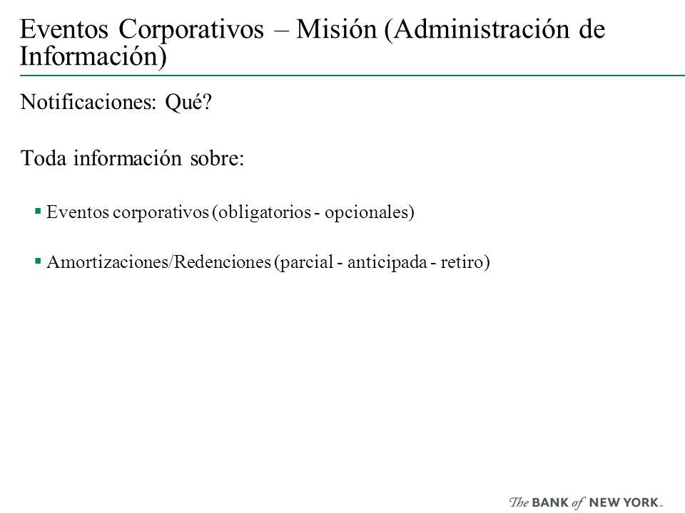Eventos Corporativos – Misión (Administración de Información) Notificaciones: Qué? Toda información sobre: Eventos corporativos (obligatorios - opcion