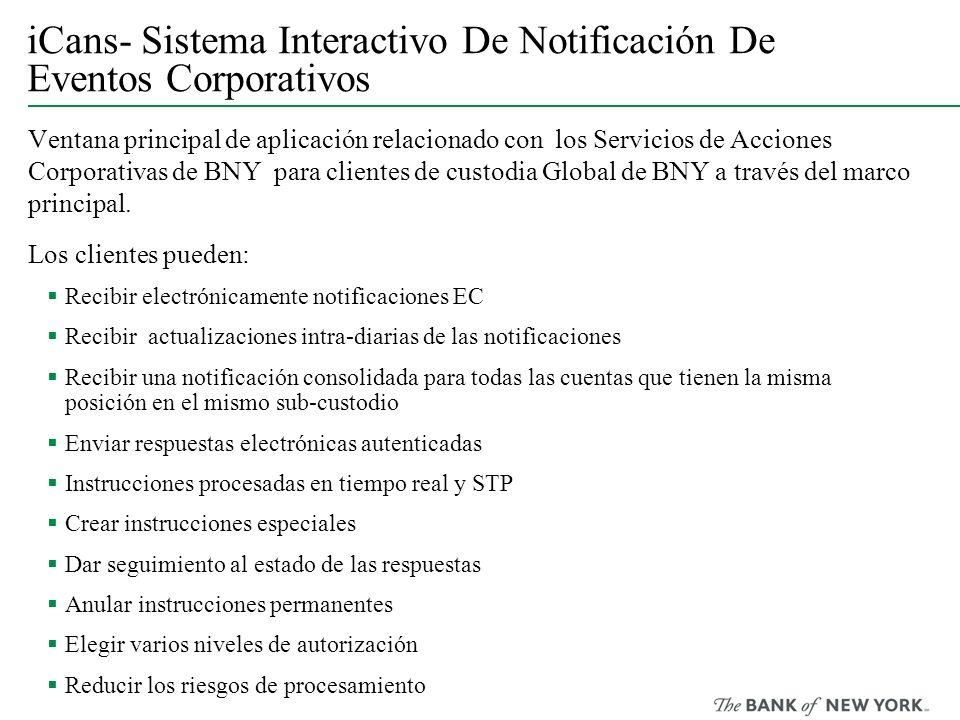 iCans- Sistema Interactivo De Notificación De Eventos Corporativos Ventana principal de aplicación relacionado con los Servicios de Acciones Corporati