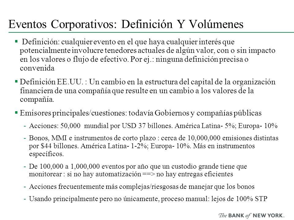 Eventos Corporativos: Definición Y Volúmenes Definición: cualquier evento en el que haya cualquier interés que potencialmente involucre tenedores actu