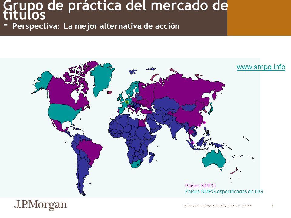 © 2008 JPMorgan Chase & Co. All Rights Reserved. JPMorgan Chase Bank, N.A. Member FDIC 6 Grupo de práctica del mercado de títulos - Perspectiva: La me