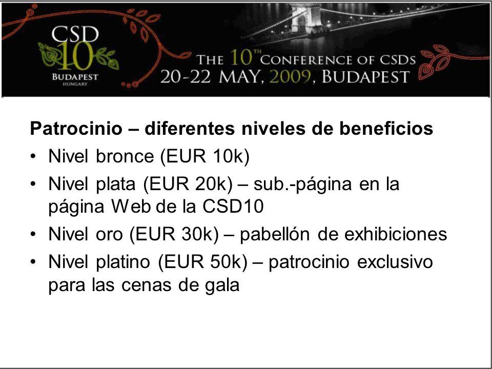 Patrocinio – diferentes niveles de beneficios Nivel bronce (EUR 10k) Nivel plata (EUR 20k) – sub.-página en la página Web de la CSD10 Nivel oro (EUR 30k) – pabellón de exhibiciones Nivel platino (EUR 50k) – patrocinio exclusivo para las cenas de gala