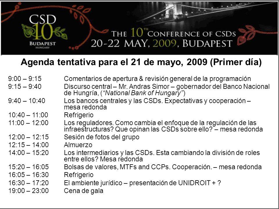 9:00 – 9:15 Comentarios de apertura & revisión general de la programación 9:15 – 9:40 Discurso central – Mr.